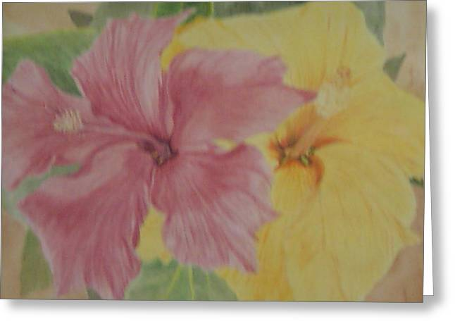 Greeting Card featuring the painting Pink And Yellow Hibiscus by Hilda and Jose Garrancho