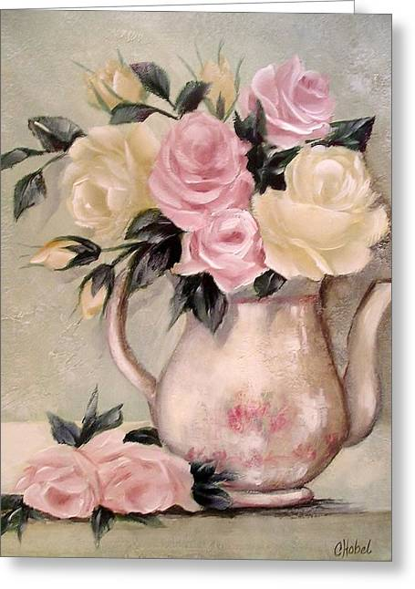 Pink And Yellow Roses In Teapot Painting Greeting Card