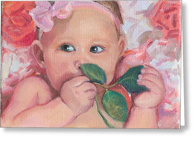 Pink Angel Greeting Card by Gwen Carroll