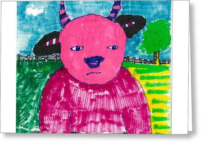 Greeting Card featuring the drawing Pink Baby Bull by Don Koester