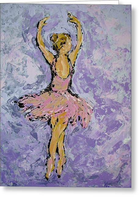 Pink Ballerina Greeting Card by Kat Griffin