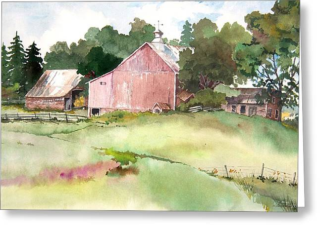 Pink Barn Greeting Card by Susan Crossman Buscho