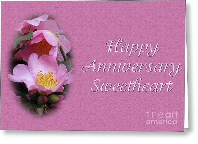 Greeting Card featuring the digital art Pink Beauty Anniversary by JH Designs