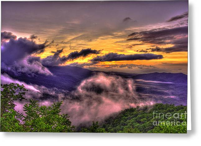 The Blue Ridge Parkway Pink Beds Overlook 2 Greeting Card by Reid Callaway