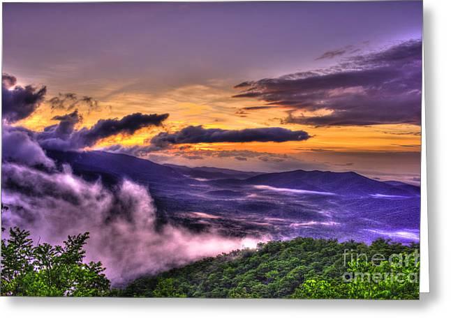 Blue Ridge Parkway's Pink Beds Overlook Greeting Card by Reid Callaway