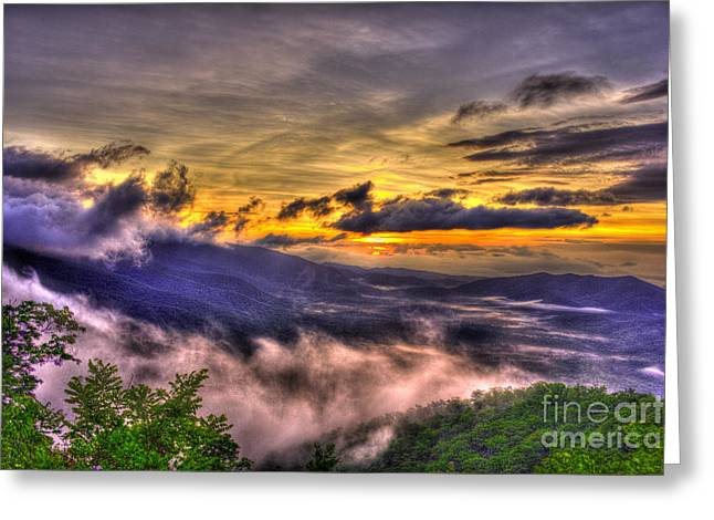 The Blue Ridge Parkway Pink Beds Overlook Greeting Card by Reid Callaway
