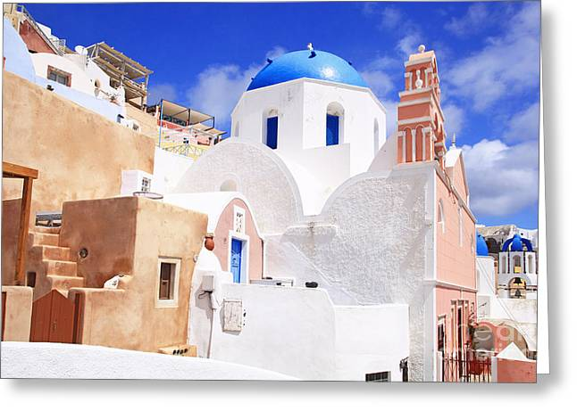 Pink Bell Tower And Blue Dome Church Greeting Card by Aiolos Greek Collections