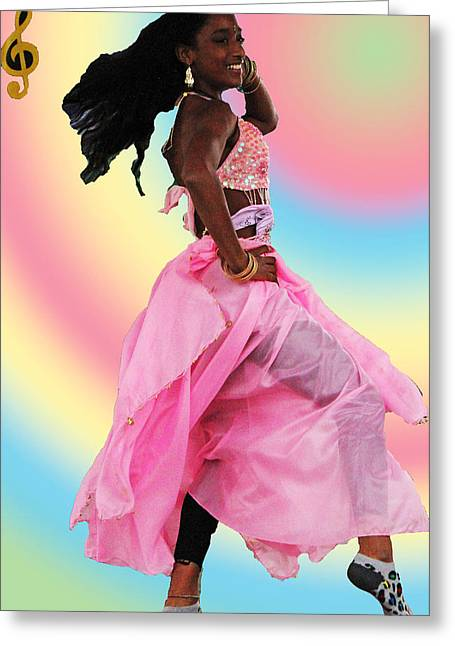 Pink Belly Dancer Greeting Card