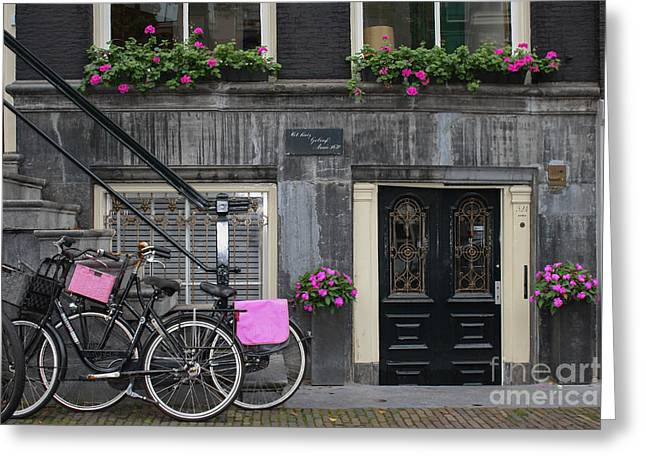 Pink Bikes Of Amsterdam Greeting Card by Mary-Lee Sanders