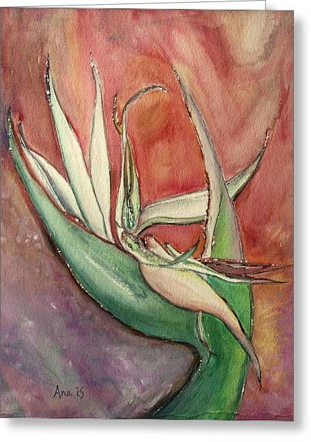 Pink Bird Of Paradise Greeting Card by Anais DelaVega