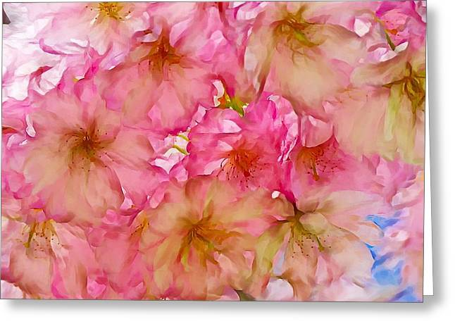 Greeting Card featuring the digital art Pink Blossom by Lilia D