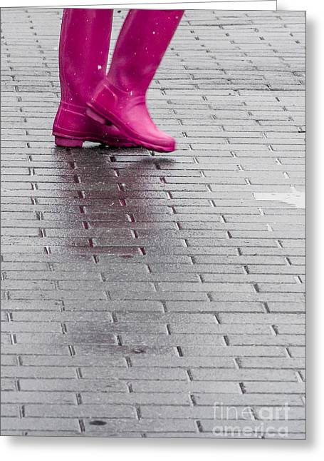 Pink Boots 1 Greeting Card by Susan Cole Kelly Impressions