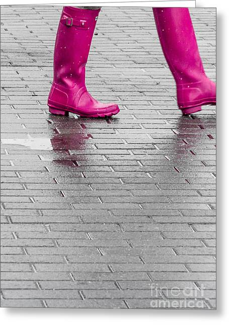 Pink Boots 2 Greeting Card by Susan Cole Kelly Impressions