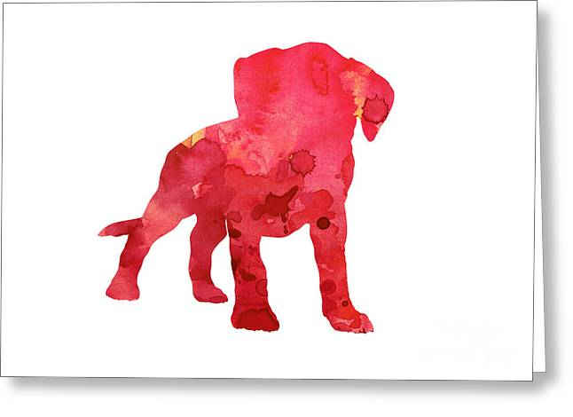 Pink Boxer Puppy Painting Watercolor Art Print Greeting Card by Joanna Szmerdt