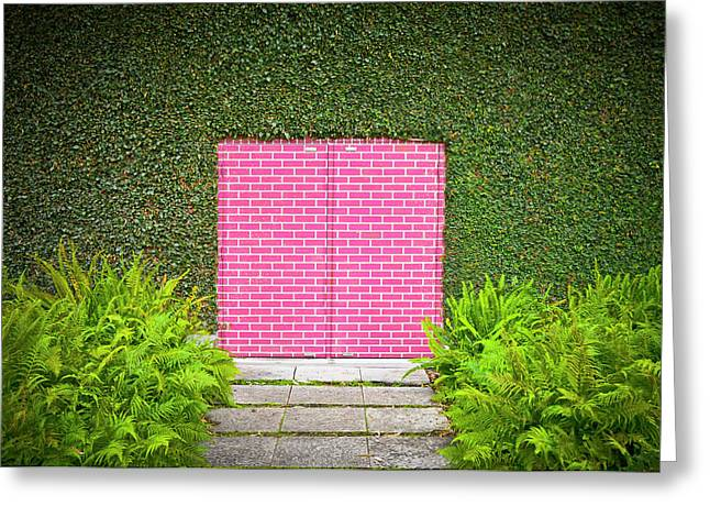 Pink Brick Door Greeting Card
