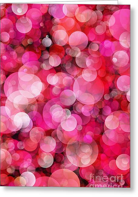 Pink Bubbles Greeting Card by Susan Schroeder