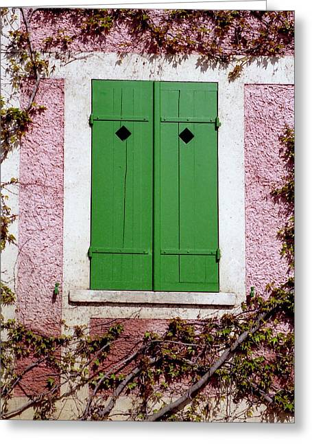 Greeting Card featuring the photograph Pink Building With Green Shutters by Mary Bedy