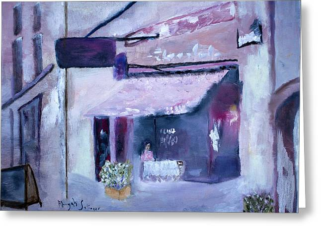Greeting Card featuring the painting Pink Cafe II by Aleezah Selinger