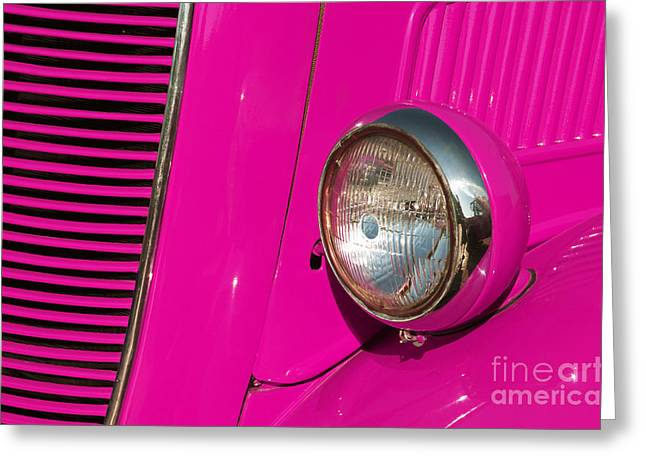 Pink Car Greeting Card by Carlos Caetano