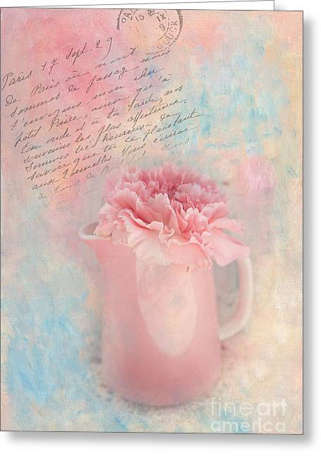 Pink Carnation In Pitcher Greeting Card