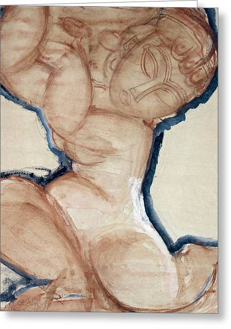 Pink Caryatid With A Blue Border Greeting Card by Amedeo Modigliani