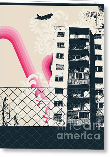 Pink City Poster Greeting Card