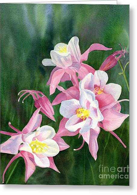 Pink Columbine Blossoms Greeting Card by Sharon Freeman