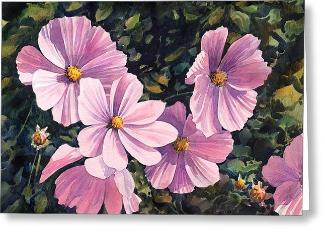 Pink Cosmos Greeting Card by Anthony Forster