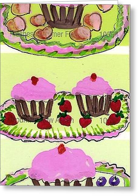 Greeting Card featuring the painting Pink Cupcake Delights by Ecinja Art Works