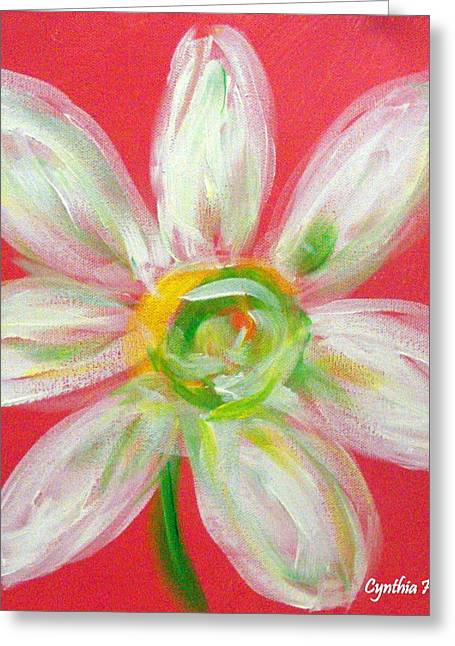 Pink Daisy Greeting Card by Cynthia Hudson