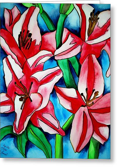 Pink Day Lilies Greeting Card by Sacha Grossel