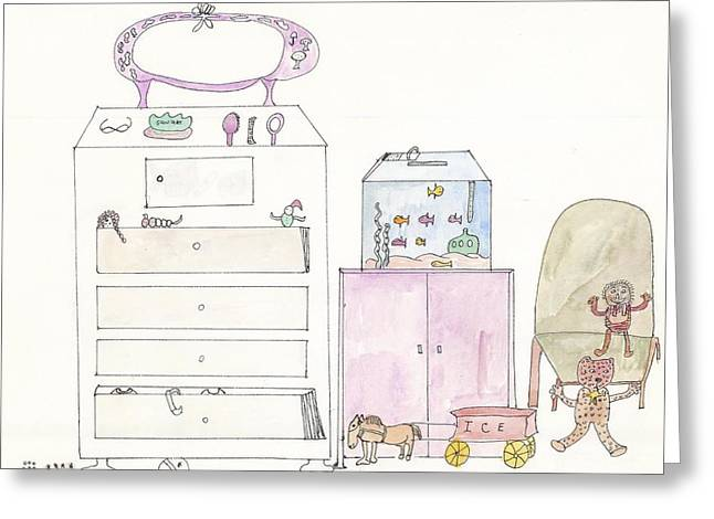 Pink Dolly Bedroom Greeting Card by Helen Holden-Gladsky