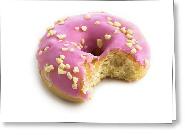 Pink Doughnut With Missing Bite Greeting Card by Science Photo Library