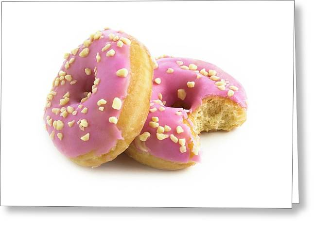 Pink Doughnuts Greeting Card by Science Photo Library