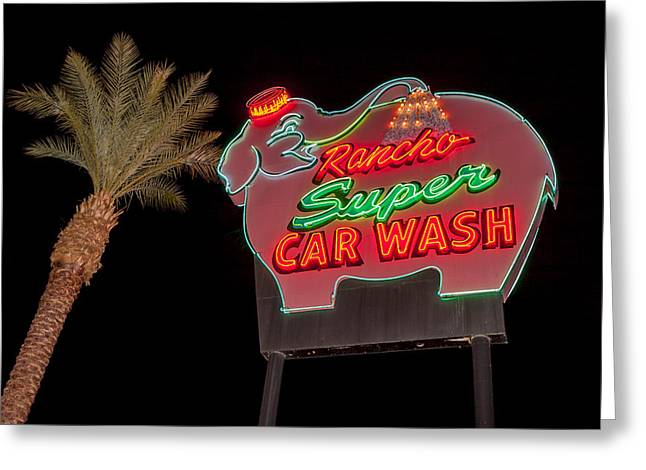 Pink Elephant Car Wash 36 X 24 Greeting Card by Scott Campbell