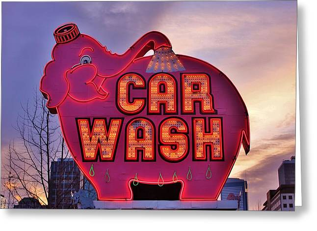 Pink Elephant Car Wash Greeting Card by Benjamin Yeager