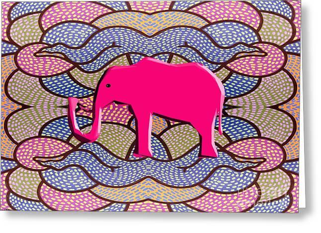 Pink Elephant Greeting Card by Patrick J Murphy