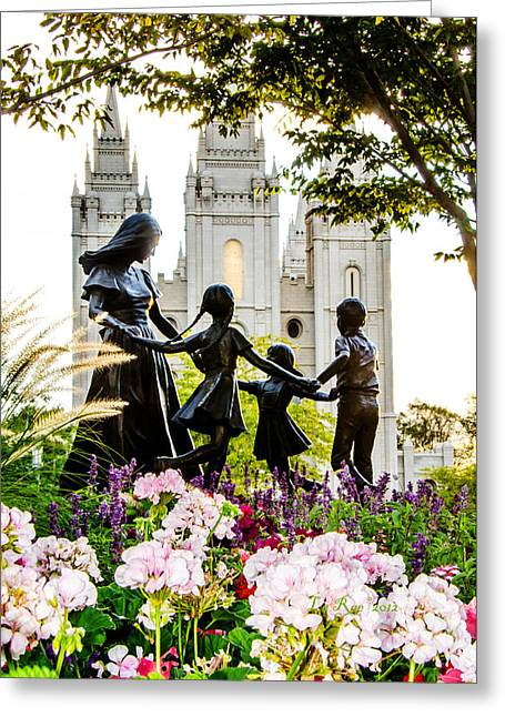 Pink Family Slc Temple Greeting Card by La Rae  Roberts