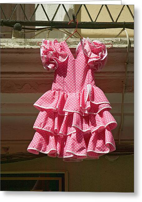 Pink Flamenco Dress For Little Girl Greeting Card