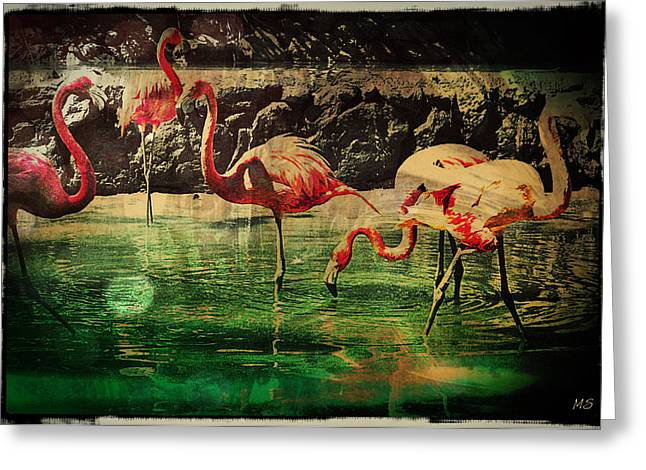 Greeting Card featuring the digital art Pink Flamingos - Shangri-la by Absinthe Art By Michelle LeAnn Scott