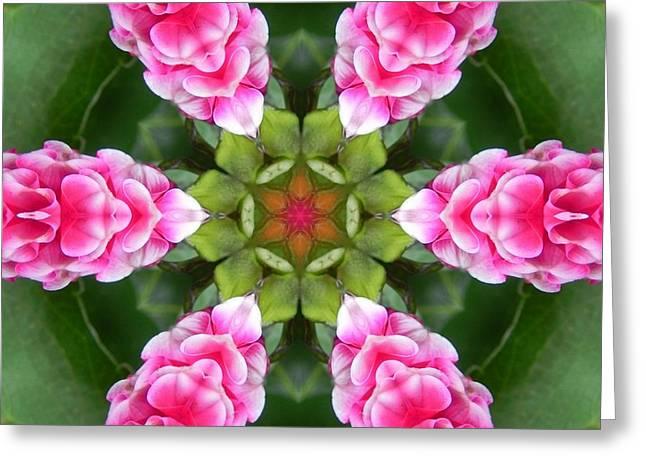 Pink Flower Star Mandala Greeting Card