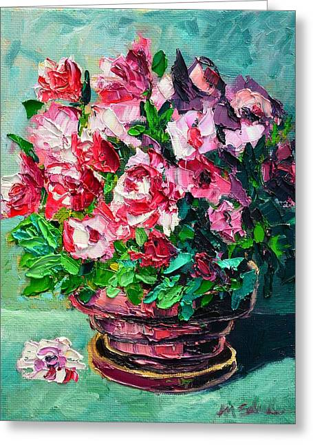 Greeting Card featuring the painting Pink Flowers by Ana Maria Edulescu