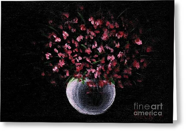Greeting Card featuring the painting Pink Flowers In Vase  by Becky Lupe
