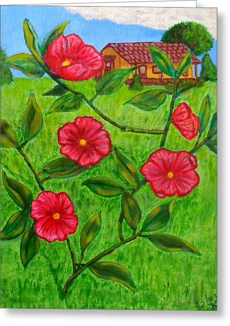 Pink Flowers Greeting Card by Sheri Keith