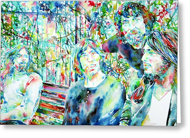Pink Floyd At The Park Watercolor Portrait Greeting Card by Fabrizio Cassetta