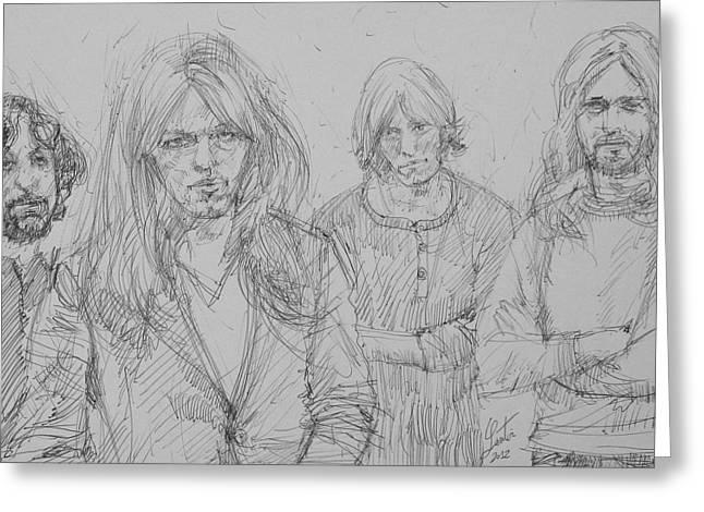 Pink Floyd Pen Portrait Greeting Card by Fabrizio Cassetta