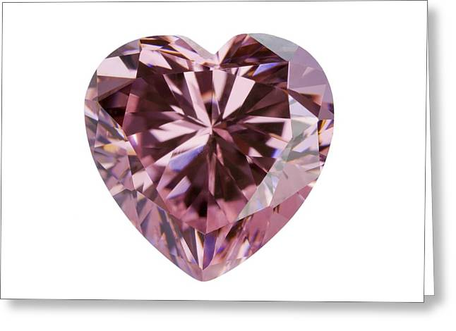 Pink Gemstone In The Shape Of Heart Greeting Card by Science Photo Library