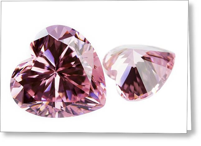 Pink Gemstones In The Shape Of Heart Greeting Card by Science Photo Library