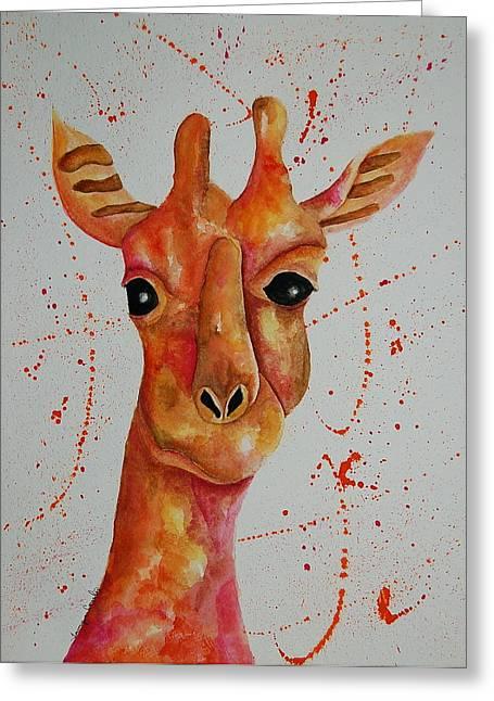 Pink Giraffe  Greeting Card