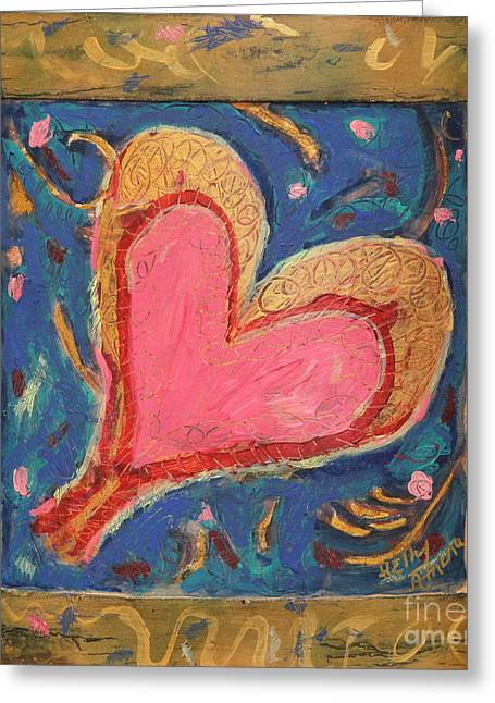 Pink Heart On Beveled Wood Greeting Card by Kelly Athena